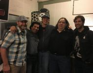 Charles, Nestor, Ples, Joey and Daniel in Sun Studio control room