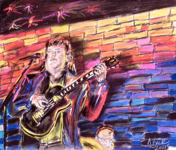 joey playing les paul chalk drawing