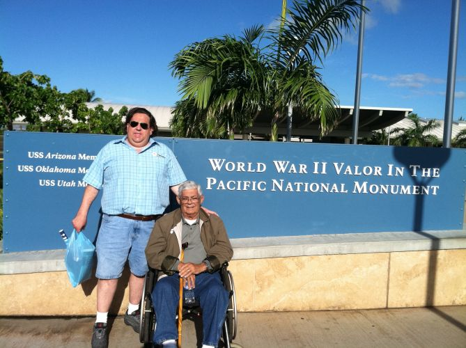 Joey with father-in-law David Tade at Pearl Harbor