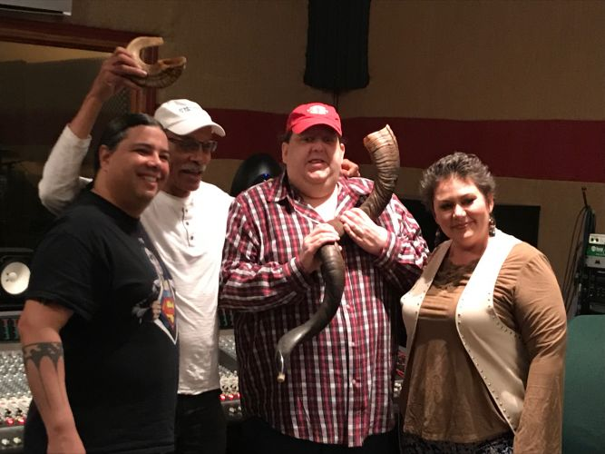 Joey with Laralyn and Joseph Riverwind and shofar player Walter Joey holding antelope shofar from South Africa