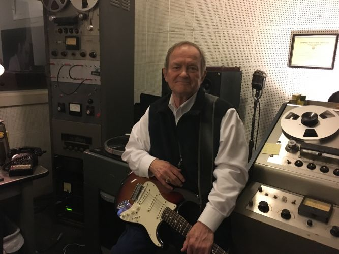 Talmadge Stuckey with Telecaster in Control Room at Sun Studio