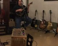 Joey tracking guitar at Sun Studio
