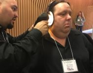 Joey getting 3-D image of ear done by Tiago at Ultimate Ears