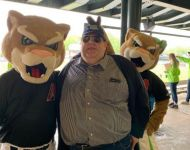 Joey with Ozzie and Annie at Kane County Cougars game