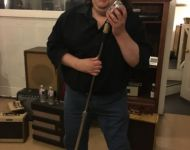 Joey on Elvis spot with Elvis mic at Sun Studio
