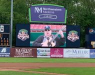Joey on Jumbotron performing for Kane County Cougars